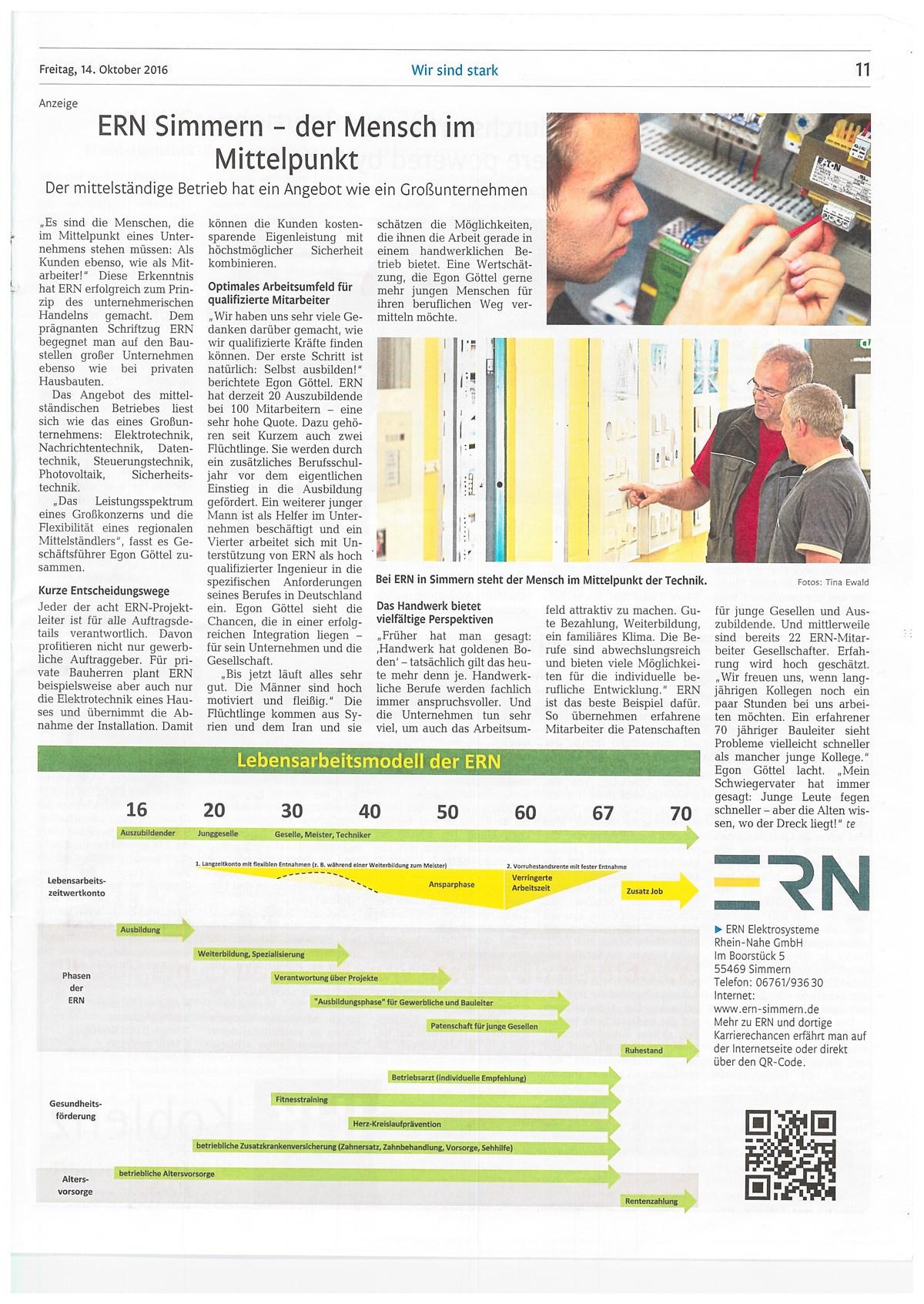 ERN Simmern - der Mensch im Mittelpunkt — ERN Elektrosysteme Rhein-Nahe